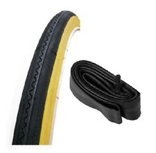 "Bicycle Tyre & Tube for Road Bikes, Black with Gum Wall Sides, 27"" x 1 1/4"""