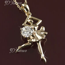 PENDANT NECKLACE 9K GF 9CT YELLOW GOLD CLEAR CRYSTAL BALLET DANCER GIRL