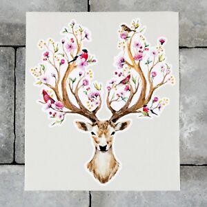 Floral Stags Head Deer Vinyl Sticker Decal Car Van MacBook - SKU6860