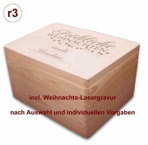 Weihnachts-Holz-Geschenkbox m. Deckel Gr. 3 Kiefer incl. Auswahl-Lasergravur(r3)