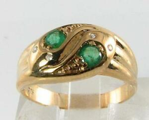 DIVINE 9CT 9K GOLD COLOMBIAN EMERALD DIAMOND SNAKE ART DECO INS RING Size T