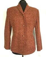 Rena Rowan Petite Womens Cranberry Multi-Color Wool Blend Jacket Sz 12P