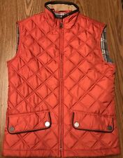 Brooks Brothers Wen's Burnt Orange Red Quilted Leather Trim Vest Sz XS NWT $399