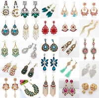New 1 Pair Elegant Women Crystal Rhinestone Ear Stud Fashion Earrings Chain
