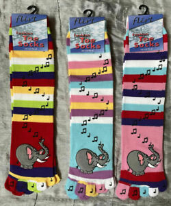 3 x pairs of Toe socks striped multi colour ladies girls musical notes elephant