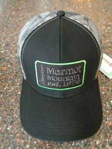 Marmot Retro Trucker Hat Embroidered Logo Snapback Black / Racing Stripes NWT