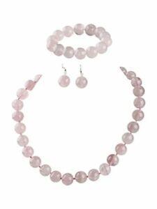 14mm Rose Quartz Beaded Necklace Bracelet and earrings Set