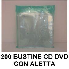 200 BUSTINE PORTA CUSTODIA CD DVD IN PVC TRASPARENTE CON ALETTA RICHIUDIBILE