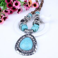TIBET BLUE TURQUOISE STONE BEADS NECKLACE ERRINGS BEAUTY DRESS PARTIES Jewelry!