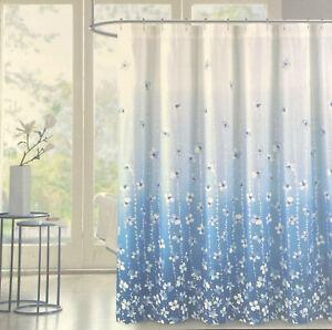 "Tahari Floral  Shower Curtain Ombre  Vines Blue  & White 72"" x 72"""
