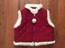 Janie & Jack Girls 0-6M Red Quilted Zip Vest w/ White Fleece Trim & Pompom