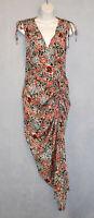 A8 NWOT VERONICA BEARD Floral Printed Stretch Silk Blend Wrap Ruched Dress Sz 2