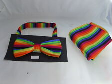 ( HRZ ) RAINBOW Multi Striped Polyester Bow tie and Hankie Set P&P 2UK 1st Class