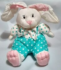 Easter Bunny Pastel Blue White Polka Dot Puffy Plush Stuffed Aqua Soft Toy 1993