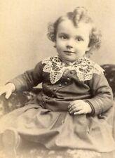 ANTIQUE CABINET CARD PHOTO DARLING LIL BOY w DRESS ID'd BATAVIA NY BACKSTAMP