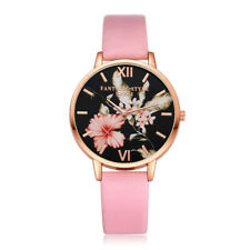 Women's Fashion Leather Flower Black Dial Analog Quartz Round Wrist Watch Watch