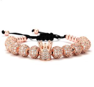 Luxury Men Gold CZ Balls Crown Charm Bracelet Stainless Steel Roman Cuff Bangle