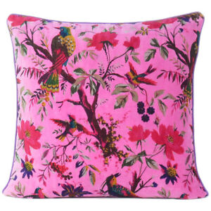 """16"""" Pink Velvet Floral Flower Bird Colorful Throw Sofa Cushion Couch Pillow Cove"""