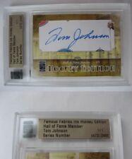 2010 Famous Fabrics Tom Johnson 1/1 auto 1 of 1 autograph RIP Canadiens Bruins