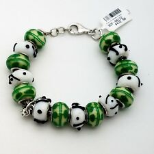 New Sterling Silver 925 Murano Glass Green & White Charm Beads Bracelet 7.5 'in