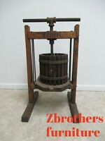 Antique Stenciled York Grape Wine Fruit Cider Press With Stand Primitive
