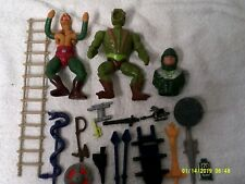 Vintage 1983 He Man MOTU & King Hiss Figure & weapon Lot