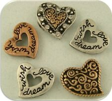 """2 Hole Beads Hearts Engraved """"wish love dream"""" Silver Copper Gold Sliders QTY 5"""