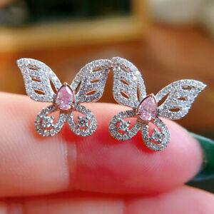 3 Ct Pear Cut Sapphire & Diamond 14K White Gold Finish Butterfly Stud Earrings