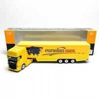 Welly 1:87 Die-cast Scania V8 R730 Container Truck Yellow Model with Box New