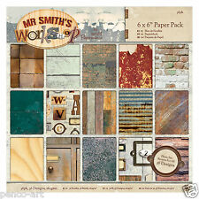 "Papermania 6x6"" scrapbooking paper pack Mr Smith's Workshop 36 different sheets"