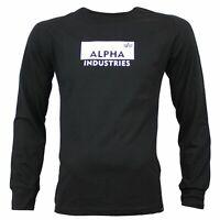 Alpha Industries Herren Longsleeve BOX LOGO black LS in Größe M bis 3XL