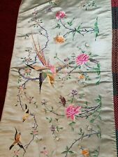 ANTIQUE 19/ 20th QI'ING CHINESE SILK EMBROIDERED PANEL HANGING EMBROIDERY 239cm