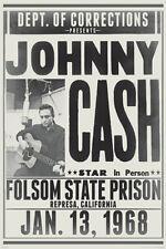 Johnny Cash Folsom Prison 24X36 Poster Iconic Concert Rock Music Walk The Line!