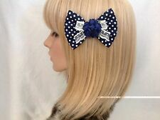 Navy blue rose lace polka dot hair bow clip rockabilly pin up girl vintage retro