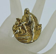Alva Studios Signed Gold Tone Brooch Pin Ancient Repro W/ Cherub Mythology