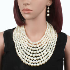 Classcial Multilayers Statement White Pearl Chain Necklace Lady's Fake Collar