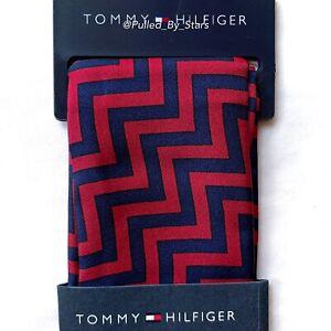 NWT TOMMY HILFIGER Navy Blue & Burgundy Chevron 100% Silk Pocket Square