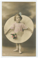 c 1914 Children Child Cute LITTLE GIRL w/ BLUE Bow in hair photo postcard