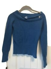 Delia Blue Green Size Xs Angora And Lamb Wool Blend Sweater Pull Over
