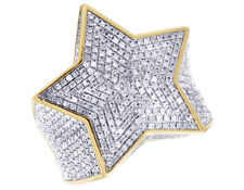 Mens Super Star Iced 3D Real Diamond Pinky Ring Statement 10K Yellow Gold 2.5CT