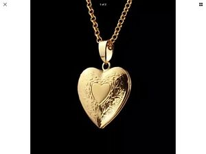 "18K Gold Plated Heart Locket Pendant Necklace Photo 22"" Link Chain"