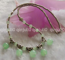 "NATURAL 6-10MM GREEN JADE ROUND BEADS PENDANTS & TIBET SILVER NECKLACE 18""JN457"