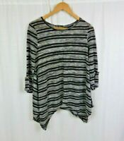 BCBGMAXAZRIA Striped Knit Asymmetrical Hem Top Shirt Black White Women's Medium