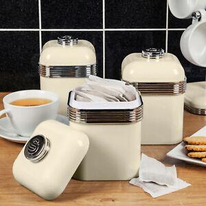 Cream Swan Set 3 Retro Storage Canisters 1L Capacity Chrome Tea Coffee Sugar