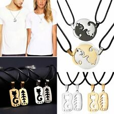Trendy Stainless Steel Heart Love Guitar Cat Animal Pendant Necklace Couple Gift