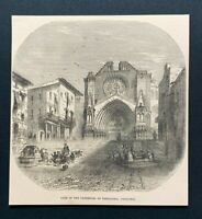 Antique 1873 Book Print GATE OF CATHEDRAL OF TARRAGONA, CATALONIA, Spain