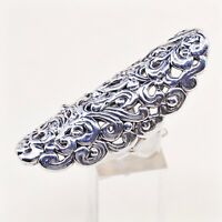 Sz 7, Israel Sterling Silver Handmade Ring, 925 Silver Statement Band W/ swirl