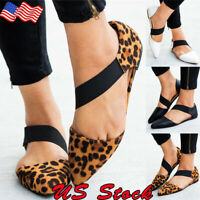 Women Summer Pointed Toe Shoes Elastic Strap Leopard Print Pregnant Flat Sandals