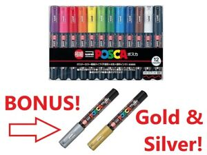 Uni-Posca Paint Pens 12pk Ultra Fine - Two BONUS metallics! - Minnesota Seller!