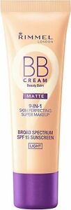 NEW - Rimmel BB Cream Matte 9 in 1 Skin Perfecting Make Up 30ml - Light